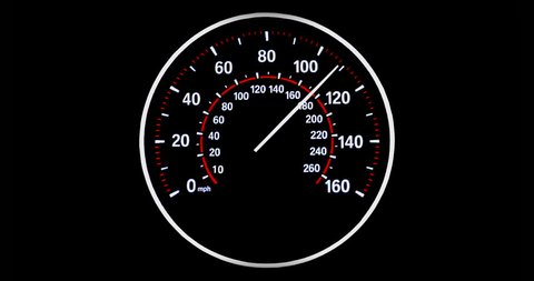 Speedometer going to max speed through the gears and limiting at 160mph, White and Red.