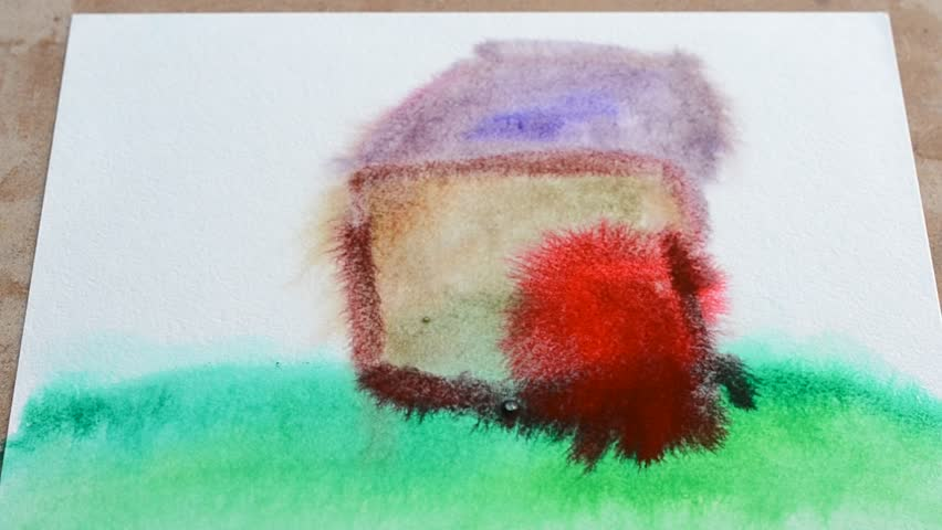 Water color, the child draws the house.
