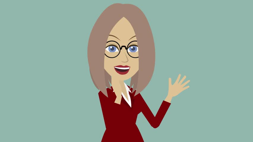 Funny character like a man, a woman with blond hair in a suit and glasses claps her hands and smiles,Only business woman close-up, an animated cartoon