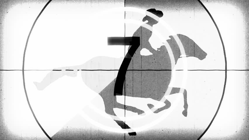 retro vintage white countdown with cartoon horseman cowboy upon running horse seamless endless loop \ new quality unique handmade animation dynamic joyful video footage