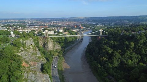 Aerial View of Bristol and Clifton Suspension Bridge over the River Avon