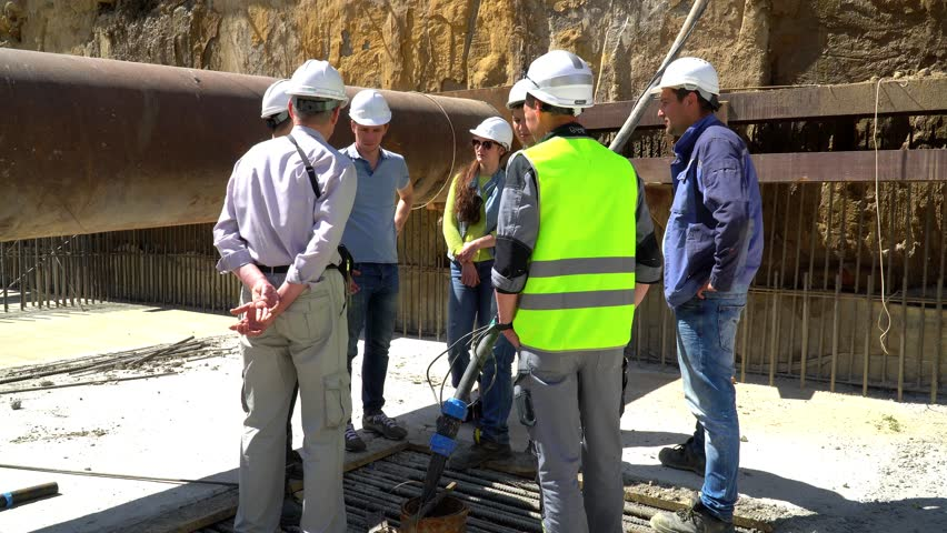 20 July 2017. Russia. Moscow. Construction site. The construction of the building from monolith reinforced concrete. Meeting at the construction site.