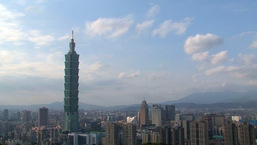 TAIPEI, TAIWAN - CIRCA 2012: Time lapse of the Taipei 101 building circa 2012 in Taipei, Taiwan.