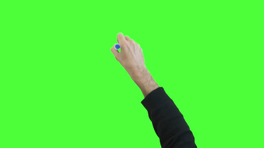Hand Writing On Green Screen. Hand writing with a marker pen on a green screen background.  | Shutterstock HD Video #29768677