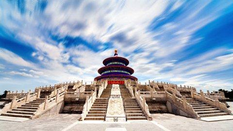 Beautiful Scene of Beijing: Temple of Heaven, Beijing, China. Timelapse