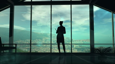 Silhouette Of Woman And IOT Infographics