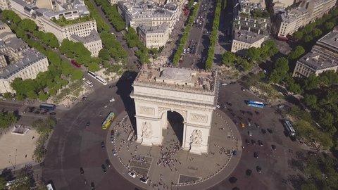 sunny summer day paris city famous arch de triumph aerial panorama 4k time lapse france