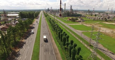 4K aerial view drone video of huge oil refinery plant and area around it near Yaroslavl, Yaroslavl Oblast area, 260 km north-east of Moscow, central Russia