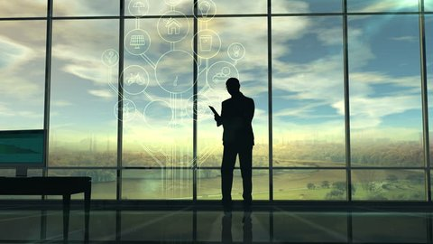 The deterioration of the environment, the silhouette of men in the office and infographics