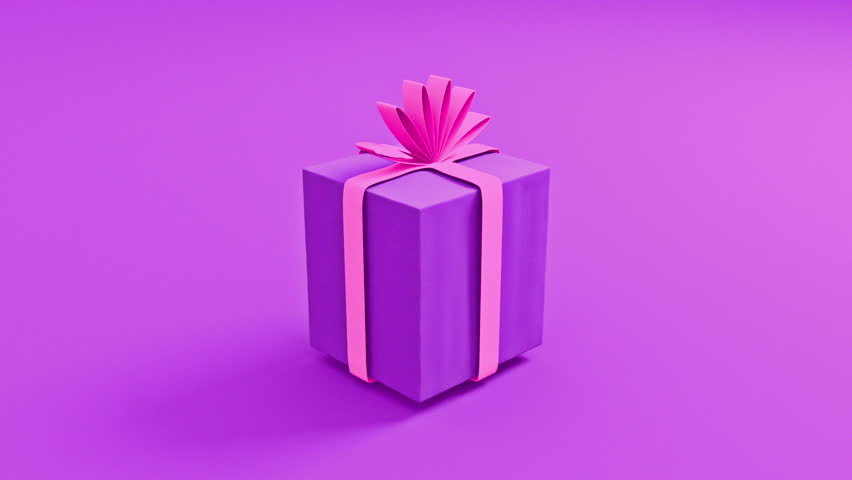 Bouncing Gift Box CG Animation - Perfect for a Women's Day or Mothers Day surprise. With Modern Pink And Purple girly colors, its sure to be a great eye-catcher for girls and women. Matte included.