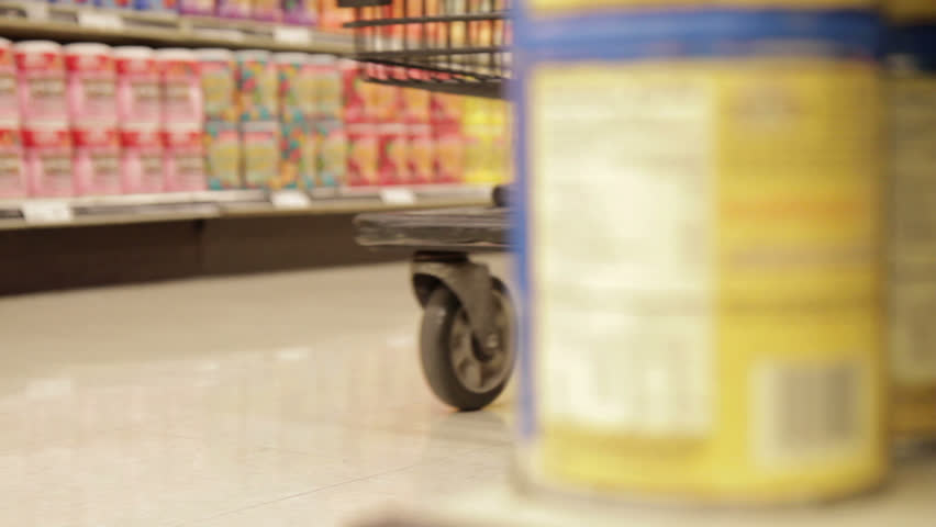 Shopping Cart in Store - Dolly Shot