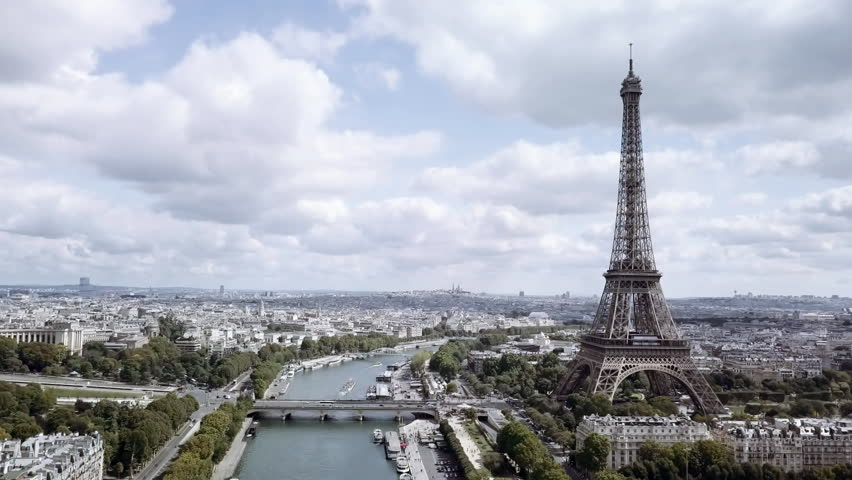 Aerial of the Eiffel Tower in Paris | Shutterstock HD Video #29846473