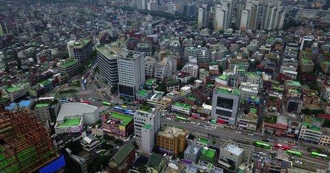 Aerial of Streets Near Hongdae Shopping Street, Seoul, South Korea