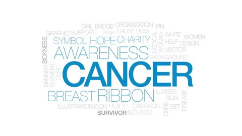 Cancer animated word cloud, text design animation. Kinetic typography.