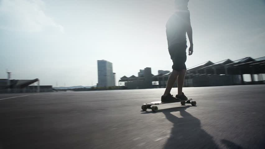 cool guy riding his longboard skate in Barcelona, Spain.  #2992693