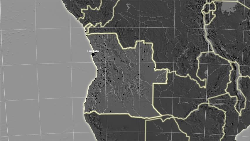The Angola area map in the Azimuthal Equidistant projection. Layers of main cities, capital, administrative borders and graticule. Elevation & bathymetry - grayscale contrasted