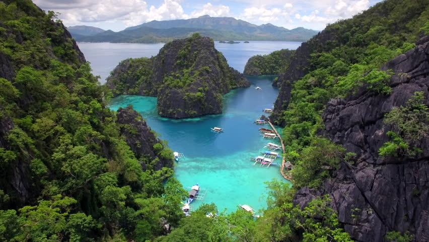 Aerial view of Kayangan Lake in Coron island, Palawan, Philippines.