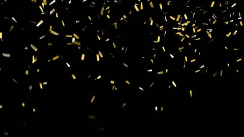 Confetti with alpha channel! Pre-keyed, background is transparent. Loopable. ProRes 4444 with transparency so you can put confetti over the top of anything. Shiny gold confetti falls, clears frame