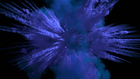 Colored middle size smoke explosion with trails, explodes on camera. Smoke density - low. Separated on pure black background, contains alpha channel.