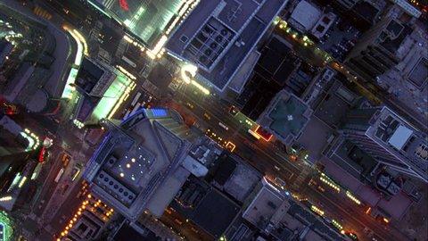Overhead Aerial Shot of NYC Manhattan at Night, New York USA