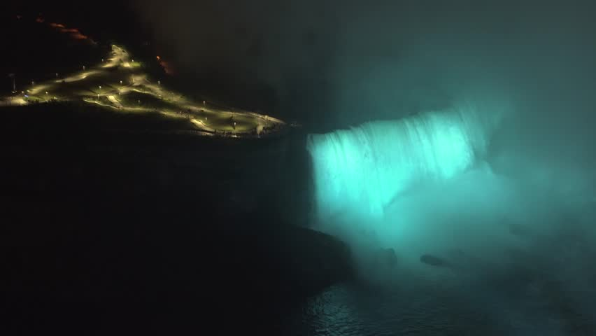 Color changing on Niagara Falls at night. New York side close-up.