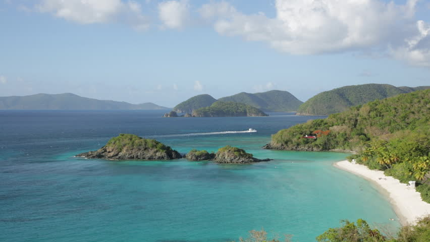 Locked down and panning view of Trunk Bay on St. John, USVI, often referred to as one of the most beautiful beaches in the world. #3003367