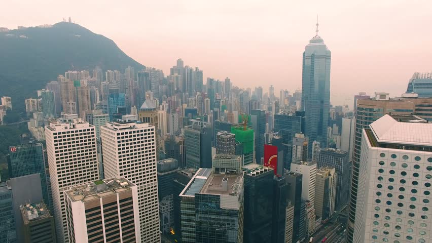 Hong Kong Aerial Sunset sky City in the background of a mountain 4k | Shutterstock HD Video #30043603