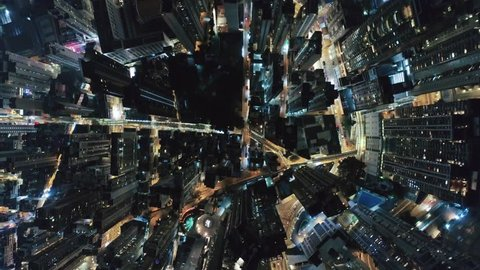 Hong Kong night aerial Cityscape above 4k