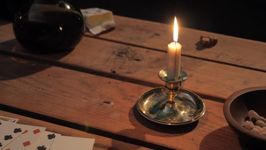 Hd00:15VIRGINIA   OCTOBER 2016   Reenactment, American Revolutionary War  18th U0026 17th Century Era Recreation  Tavern Tabletop, Gentlemen Playing  Cards, ...