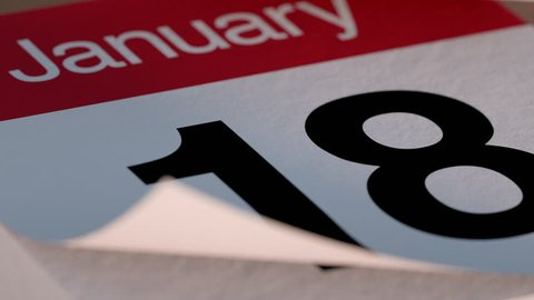 Paper tear off desk Calendar for January flipping through days of month
