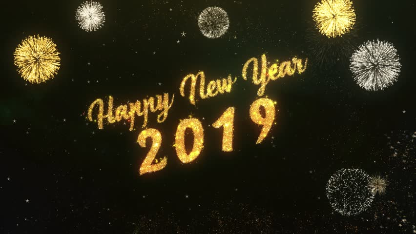 Stock video of happy new year 2018 greeting text 30064882 4k0015happy new year 2019 greeting text made from sparklers light dark night sky with colorfull firework m4hsunfo