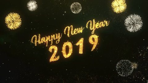 Happy New Year 2019 Greeting Text Made from Sparklers Light Dark Night Sky With Colorfull Firework.