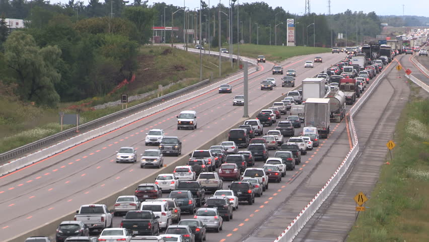 King city, Ontario, Canada August 2017 Epic highway traffic jam and gridlock in road construction zone | Shutterstock HD Video #30080893