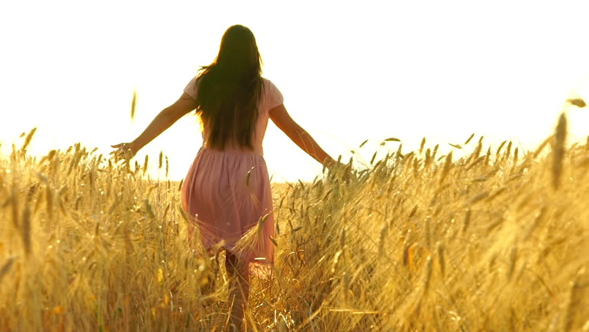 Pretty girl in the dress is running across the field. Slow motion 120fps. Freedom concept | Shutterstock HD Video #30109933