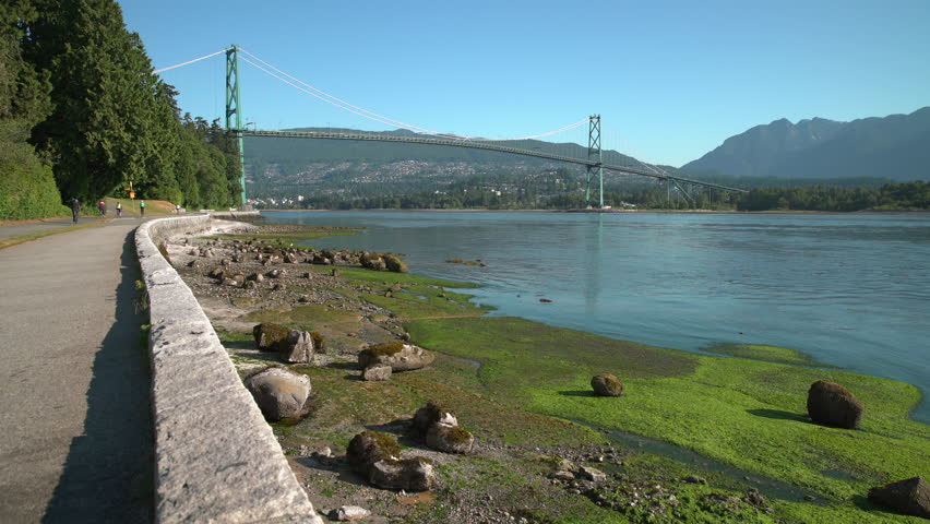 Stanley Park Seawall, Lions Gate 4K UHD. A dolly shot on the seawall of Stanley Park looking out at the Lions Gate bridge. Vancouver, British Columbia, Canada.