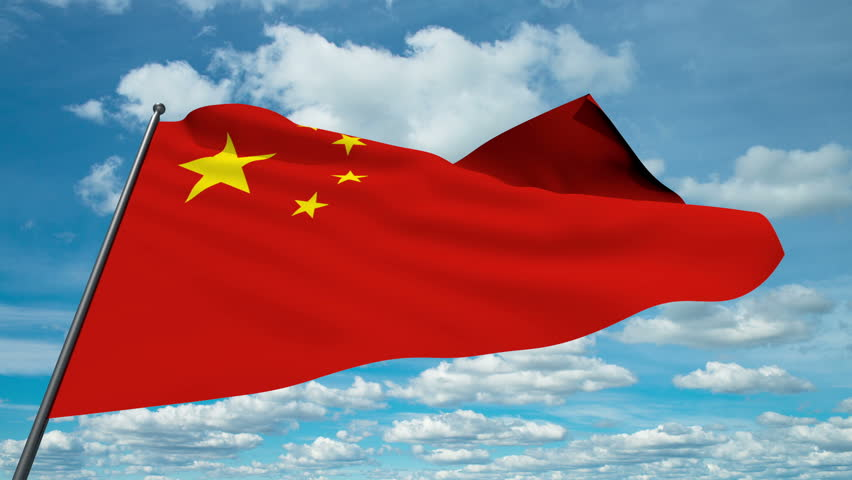 China flag waving against time-lapse clouds background