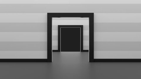 Many double doors open and the camera flies through all of them. Animation of opening double doors one by one.