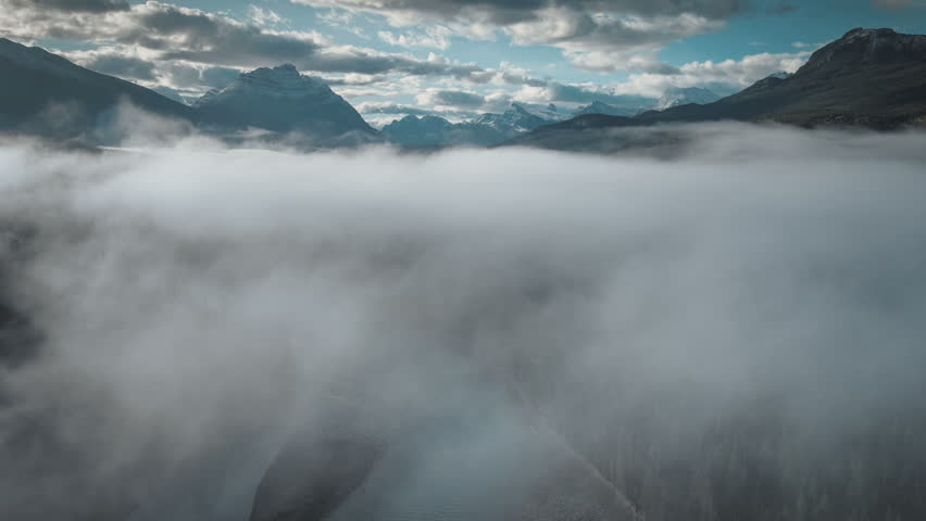 Aerial of fog over athabasca river in jasper | Shutterstock HD Video #30131809