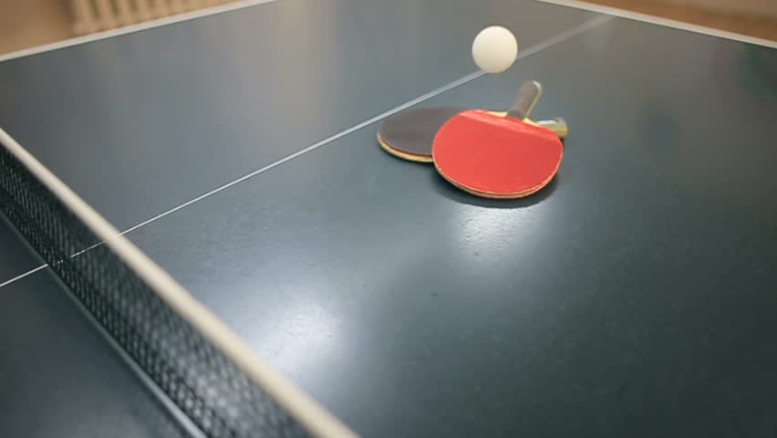 Table Tennis Or Ping Pong Rackets And Ball   HD Stock Footage Clip