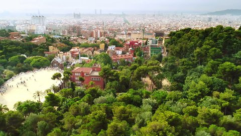 Aerial view from famous Park Guell in Barcelona