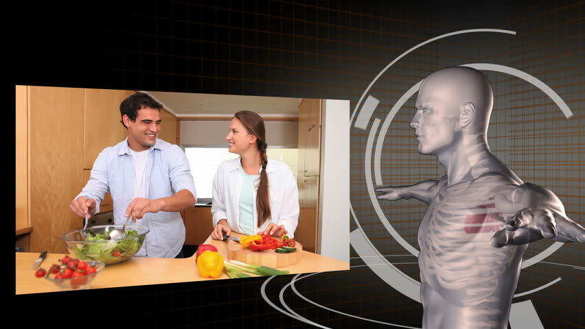 Animation of videos of healthy eating with a digitally created man