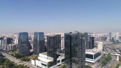 SAO PAULO, BRAZIL - 26 AUGUST 2017: Aerial View of Sao Paulo, Brazil