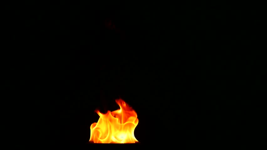 tongues flame on a black background, slow motion.