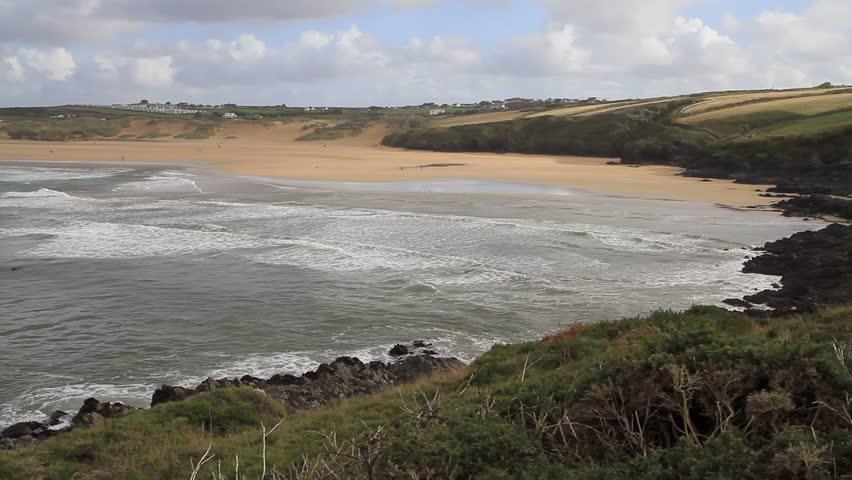 CRANTOCK BEACH AND BAY NORTH CORNWALL ENGLAND-NOVEMBER 4th 2012:  A beautiful autumn day at Crantock beach North Cornwall England on 4th November 2012   Shutterstock HD Video #3023503