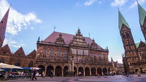 BREMEN, GERMANY, JULY 2017 - Timelapse of the Historic City Hall and Saint Peter's Cathedral in the old town of Bremen which is part of the German landmark fairytale route and UNESCO world heritage.