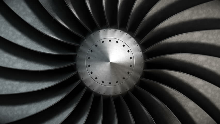 Close-up turbine engine front-end fan. 4K loopable background. | Shutterstock HD Video #30265333