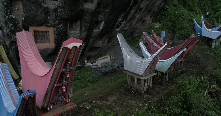 aerial low flying around the traditional grave , South Sulawesi, Indonesia