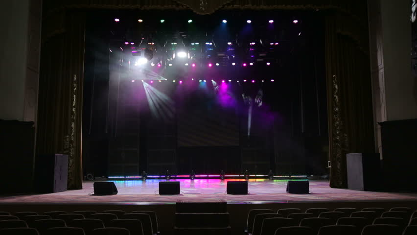 Multicolored Spotlights At A Concert. Empty Stage Before A ...