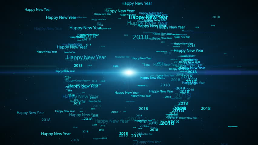 Seamless Loop, Loopable Animation Motion Background, 2018 Happy New Year  Text Word Fly In