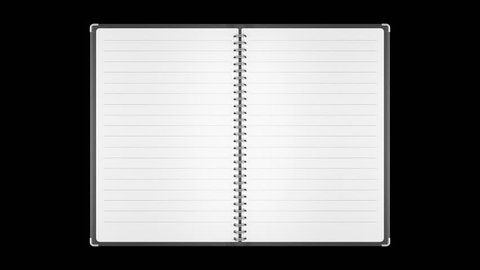 Loopable animation of  note book page turning. Alpha channel.